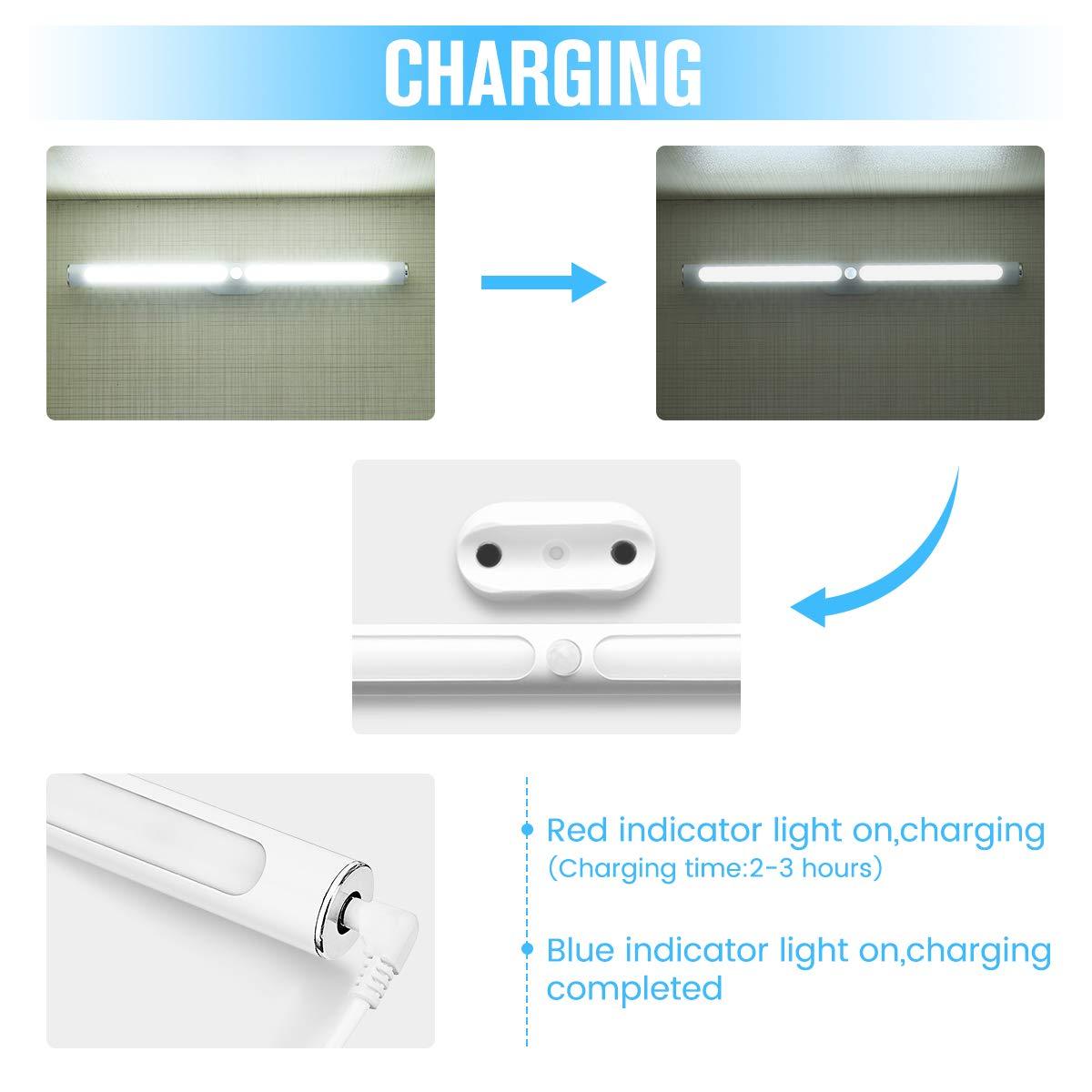 GLIME Lampe d\'Armoire à Détecteur de Mouvement à Pile sans Fil USB Rechargeable 22 LEDs Lumière Blanc pour Cabinet Penderie Armoire Placard Cabine