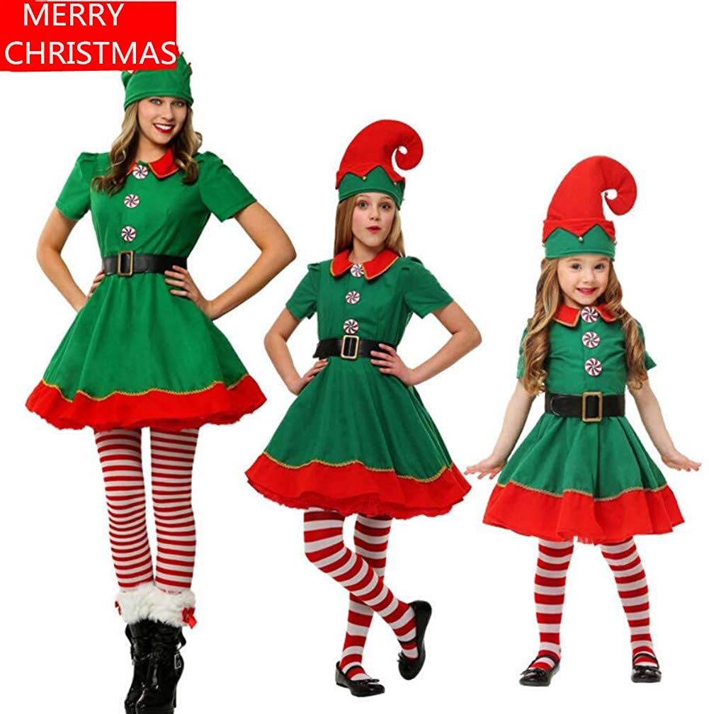 KKING Christmas Holiday Elf Plus Size Parent-Child Suit Helper Costume Cosplay