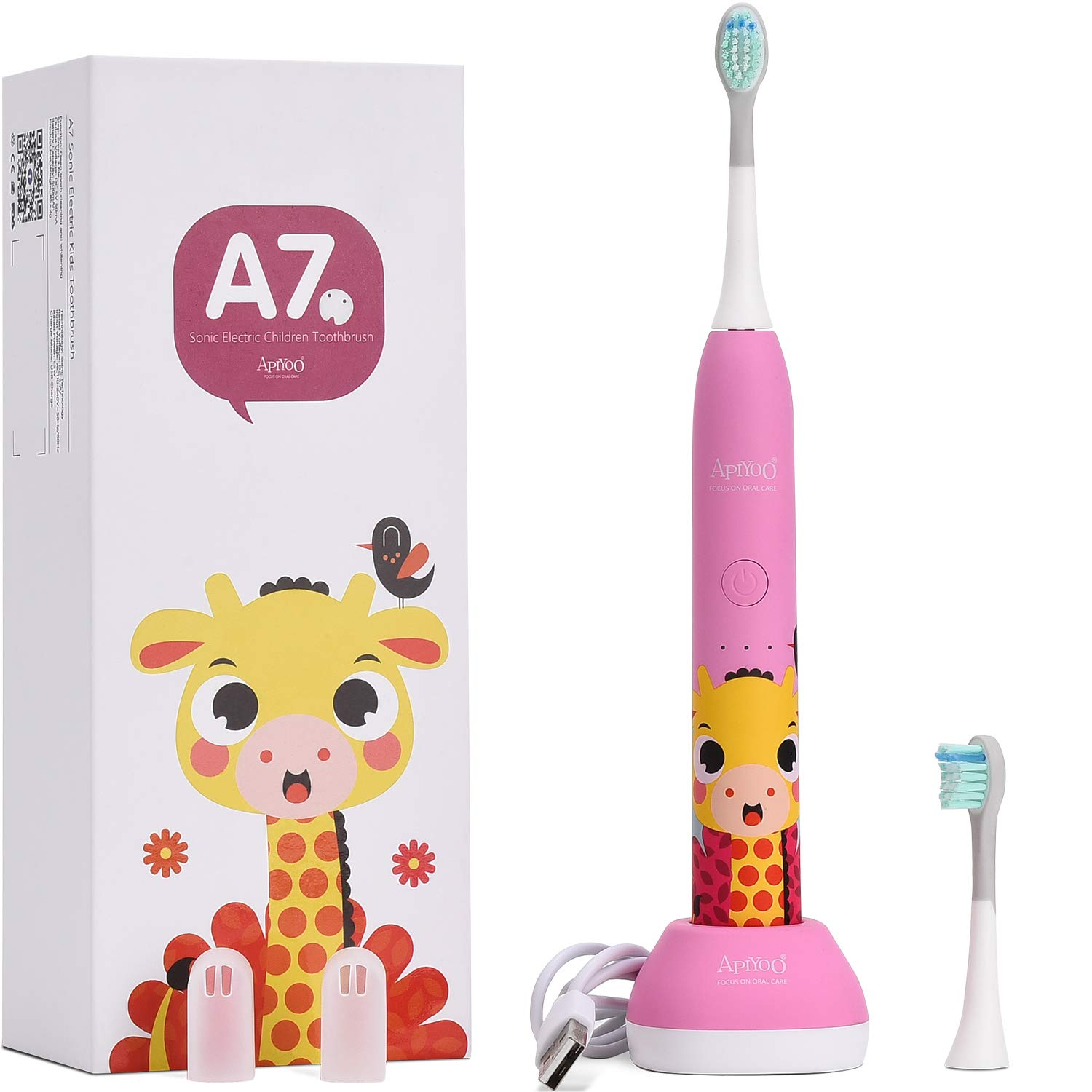 Apiyoo Kids Electric Toothbrush, A7 Sonic Wireless Rechargeable Toothbrush, IPX7 Waterproof with 3 Brushing Modes, 2 Min Smart Timer for Kids. (Pink)