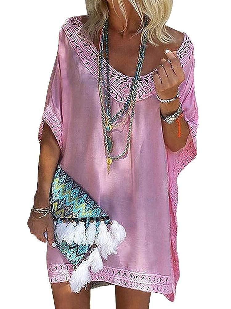 ORANDESIGNE Damen Bikini Coverup Elegant Strandkleid Oversize Sommerkleider Kurzarm V Ausschnitt Minikleid mit Häkel Bohokleid