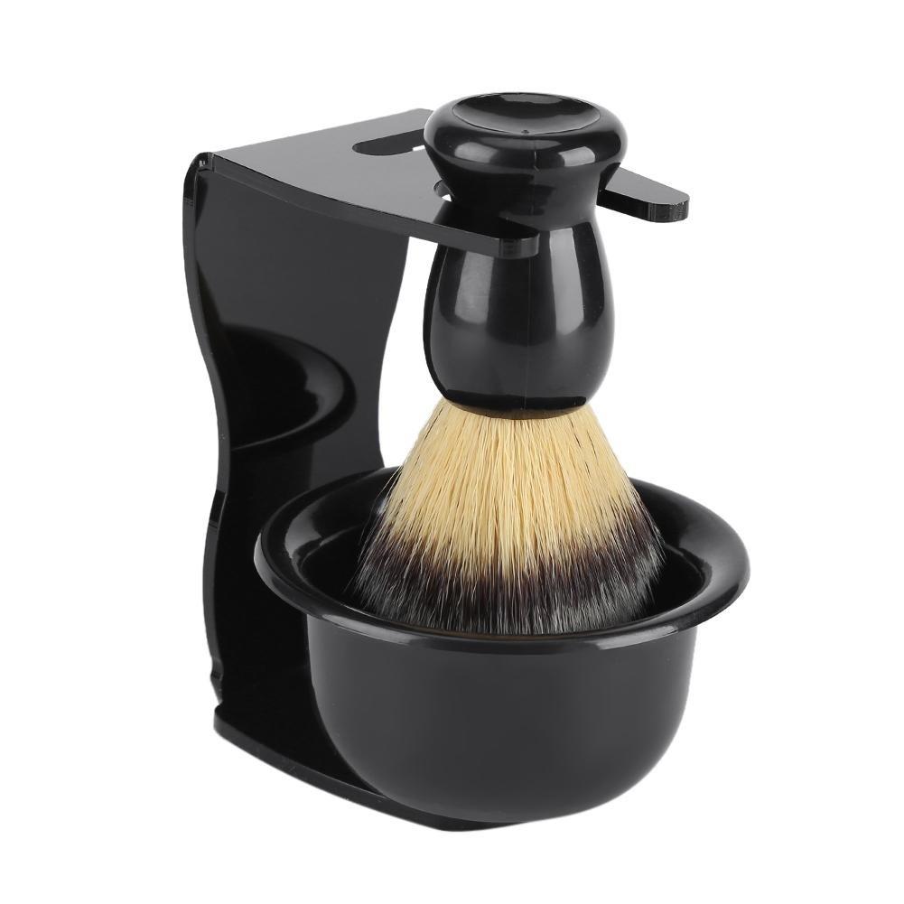 3 PCS Shaving Brushes Set with Shaving Stand Holder Shaving Bowl Mug Organizer Bathroom Decor Shaving Set Black Fdit