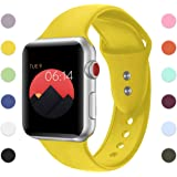 Sport Band For Apple Watch,Soft Silicone Strap Replacement Wristbands For Apple Watch Sport Series 3 Series 2 Series 1 NIKE+ Sports and Edition (Yellow 42mm S/M)