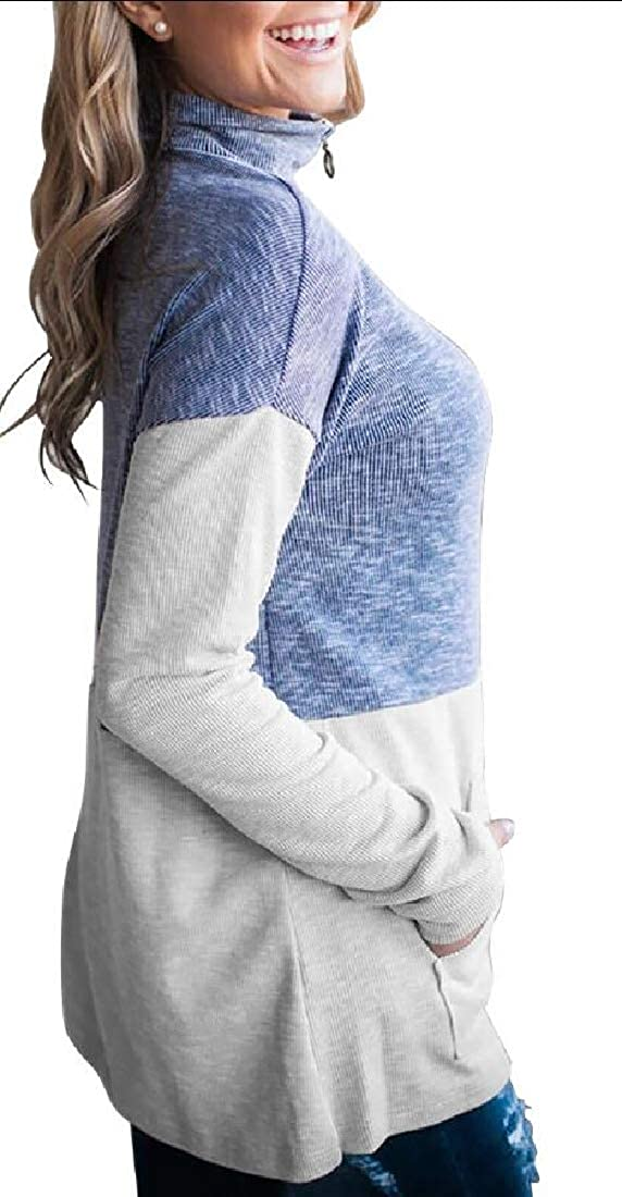 ouxiuli Womens High Neck Long Sleeve Half Zip Colorblock Pullover Sweatshirt