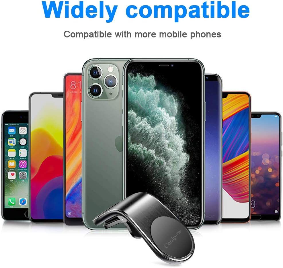 Magnetic Phone Car Mount Compatible with iPhone Built-in 5 N52 Super Strong Magnets Universal Magnetic Cell Phone Holder for Car Air Vent Samsung and More 2 Pack Magnetic Car Phone Mount