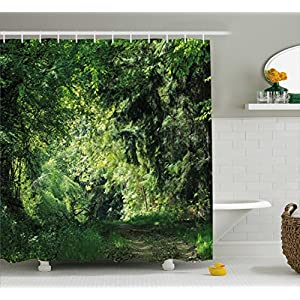 Ambesonne Nature Shower Curtain by, Path Road into the Woodland Forest with Bushes Foliage Ferns Fresh Tranquil View, Fabric Bathroom Decor Set with Hooks, 70 Inches, Hunter Green 100