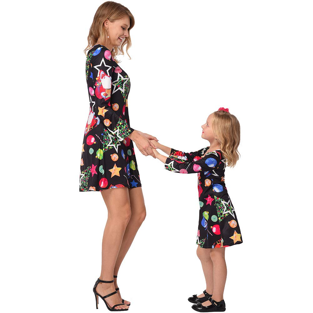 Mother Daughter Winter Christmas Ugly Dress Floral Printed Long Sleeve Deer Shirt Dress