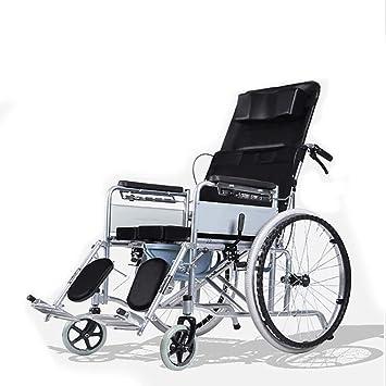 Silla de Ruedas Cómoda Multifuncional Ultralight Transporte Adulto Completo Reclinable Marco de Acero al Carbono Freno de Mano Mayor Discapacitado Empuje ...