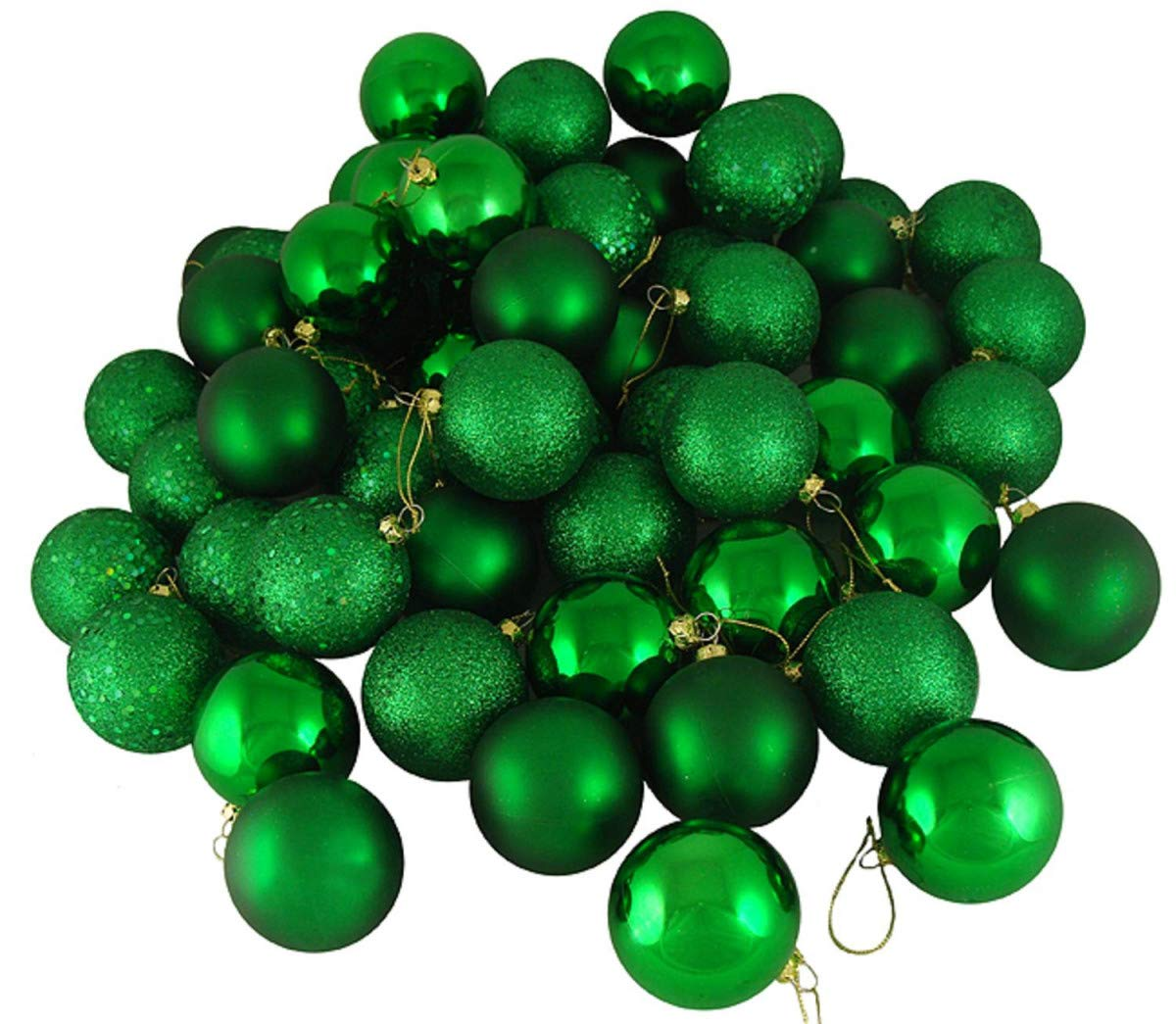 FLAMINGO_STORE Christmas Ball Ornament Xmas Green Shatterproof 4-Finish Christmas Ball Ornaments 2.5'' (60mm) 24ct Xmas Green Shatterproof 4-Finish Christmas Ball Ornaments 2.5'' (60mm)