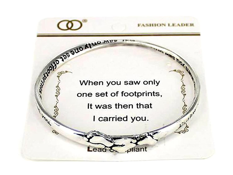 """Footprints"" Religious Inspirational Engraved Silver-tone Bangle Bracelet By Athena Brand"