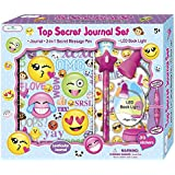 SmitCo LLC Journals For Girls - Gifts Set For Kids Ages 6 and Over - Secret Emoji Diary Notebook With Invisible Ink Pen and Blue Light - 100 Blank, Lined Pages, Clip On LED Book Light and Stickers