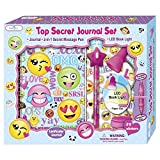 Girls Diary - 5, 6, 7, 8, 9, 10 Year Old Girl Gifts - Secret Emoji Journal Notebook Set for Kids with Invisible Ink Pen, Clip On LED Book Light and Stickers