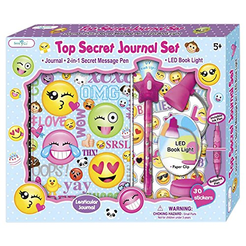 SMITCO Girls Diary - Cute Emoji Lined Journal Birthday Gift Set for 5 to 10 Year Old Kids with Invisible Ink Pen and Clip On LED Light to Keep Her Secrets Safe - First Diaries Are A Treasure for Child -