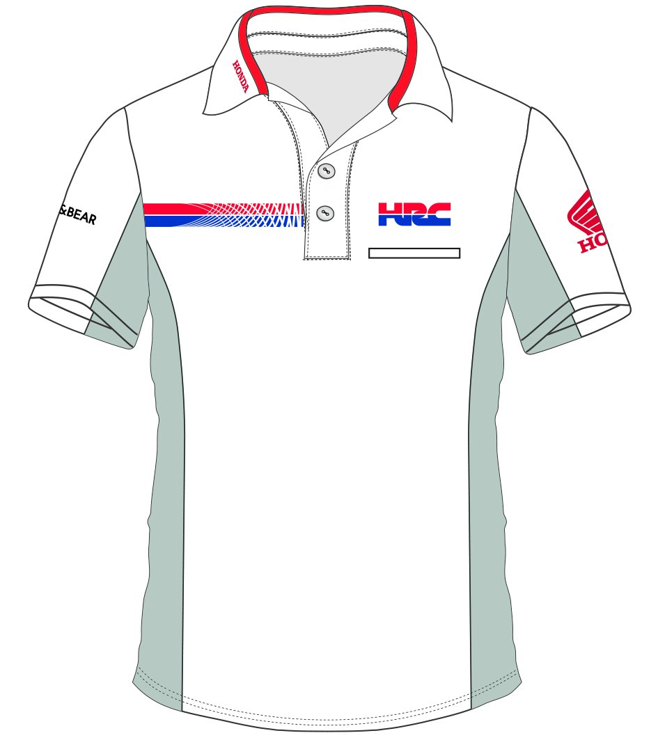 Gr/ö/ße XL Pritelli Honda HRC Team Moto GP Teamwear Replica Polo Hemd Offizielle 2018 wei/ß