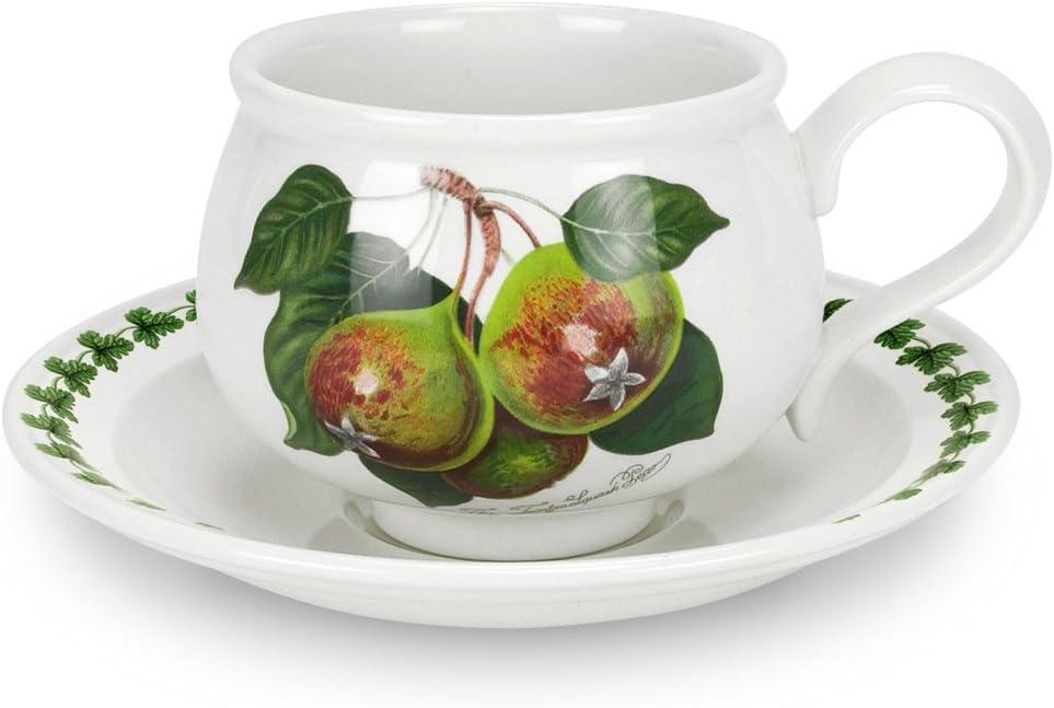 Portmeirion Pomona Romantic Shape Teacup and Saucer, Set of 6 Assorted Motifs