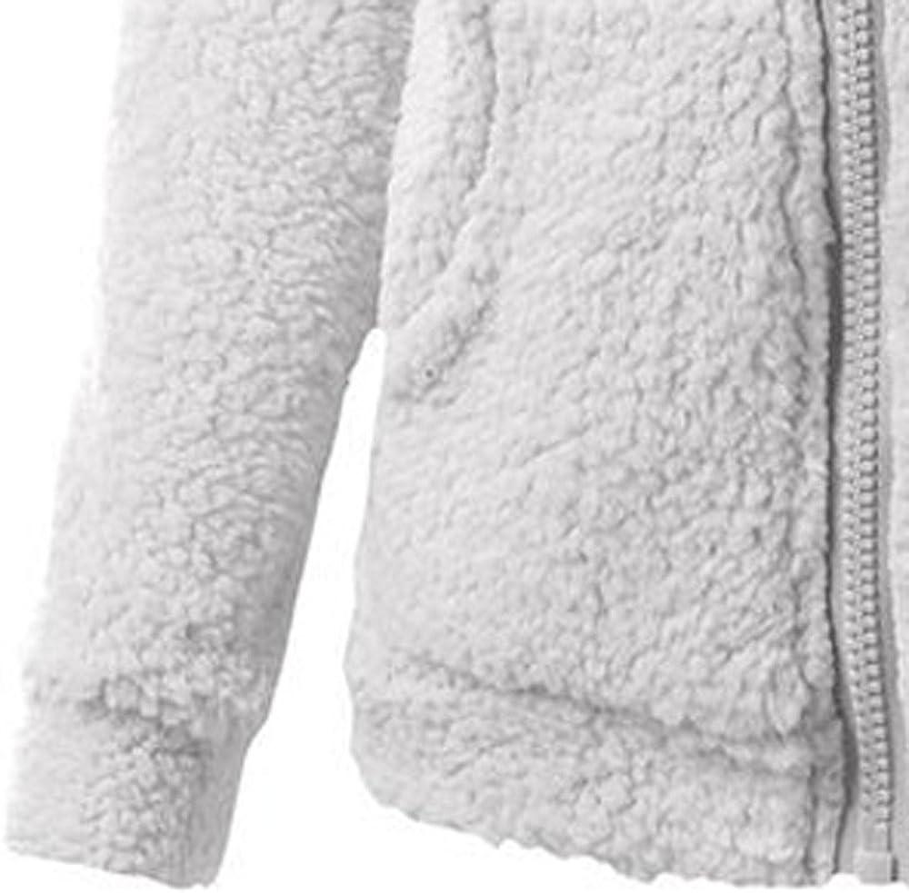 VECDY Ladies Hoodies for Women Sweater Coat Winter Warm Wool Zipper Pocket Solid Outwear Light Gray