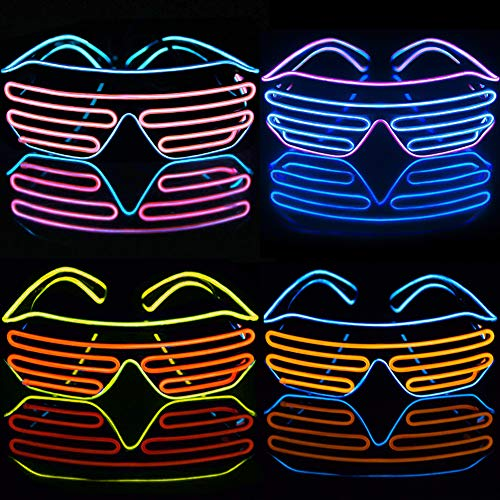 Glow In The Dark Party Favors, LED Glasses Party Supplies, 4 Style Unisex EL Wire LED Rave Glasses, Light Up Toys Party LED Light Shades Toys 3 Flashing Mode for 2019 New Year LED Party DJ RB01 EDM