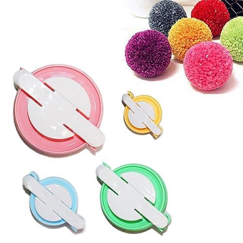 TaleeMall 4 Sizes (small to large) of Pom Pom Maker Set for DIY Pompom Kit Fluff Ball Weaver Maker