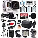 GoPro HERO4 Silver Edition 4K Action Camera with 64GB MicroSD, 3x Batteries, Charger, Card Reader, Large Case, Action Handle, Tripod, Car Mount, LED Light, Helmet Strap, Dust Cleaning Kit(CHDHY-401)