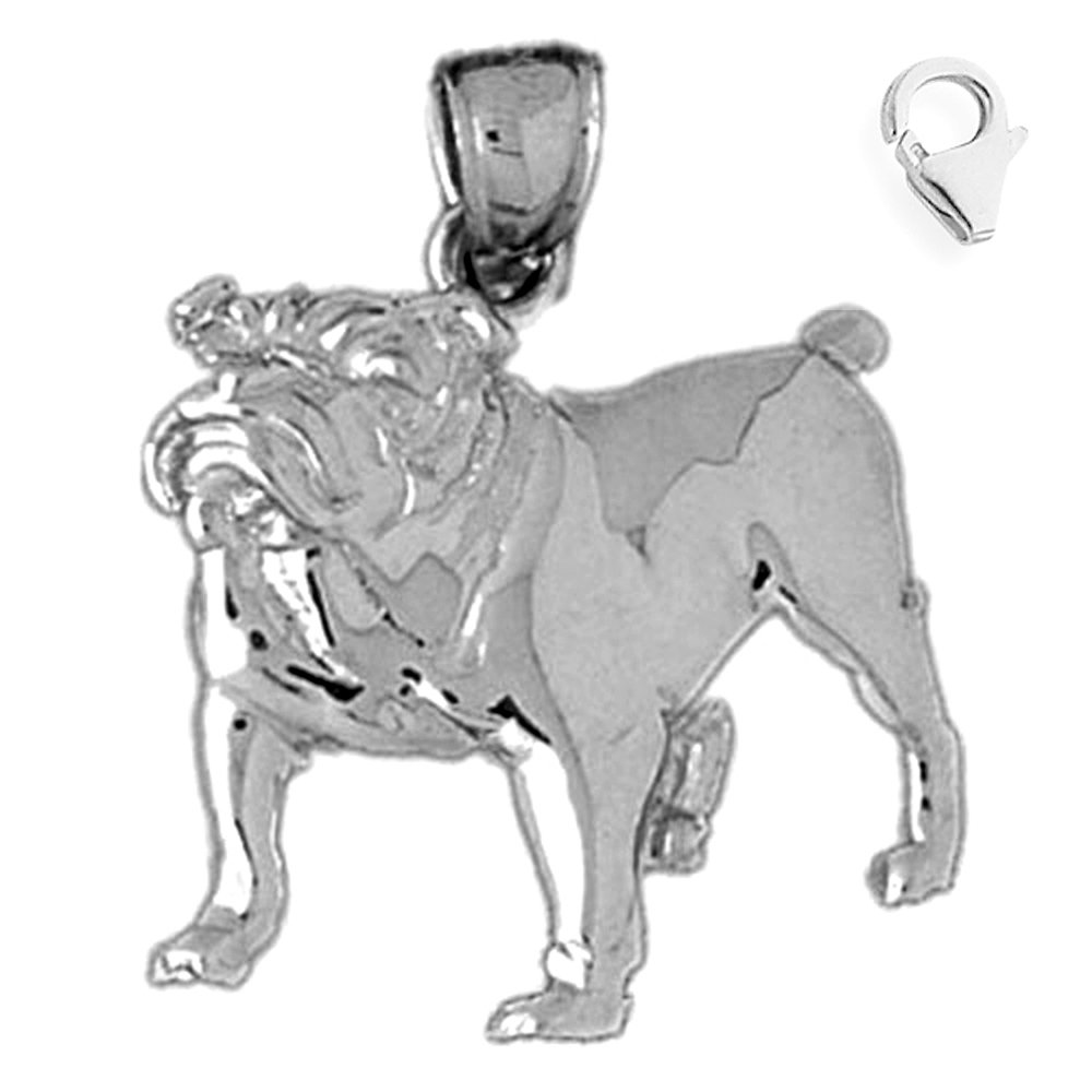 Jewels Obsession Bulldog Pendant Sterling Silver 29mm Bulldog with 7.5 Charm Bracelet