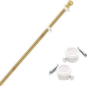 diig 6FT Flag Pole Kit,Stainless Steel Heavy Duty Golden American US Flagpole, Rustproof for Outdoor Garden Roof Walls Yard Truck (Without Bracket)