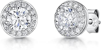 JOOLS by Jenny Brown ®- Sterling Silver Stud Earrings- Halo Style With A Central Cubic Zirconia Stone And Stone Surround cqYQDtjOl4
