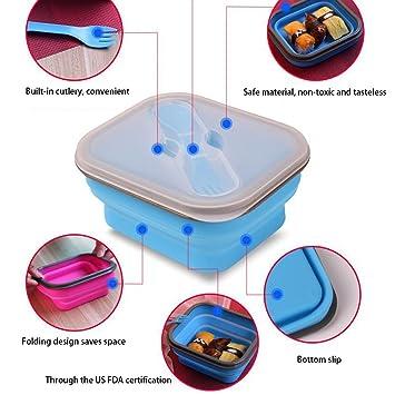 Fiambrera plegable de 550 ml con caja de bento azul, sin BPA, para el