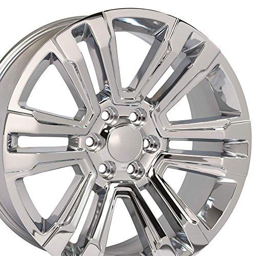 Rims Plated Chrome Aluminum (24x10 Wheels Fit GM Chevy Trucks - 2018 GMC Sierra Yukon Denali Style Chrome Rims - SET)