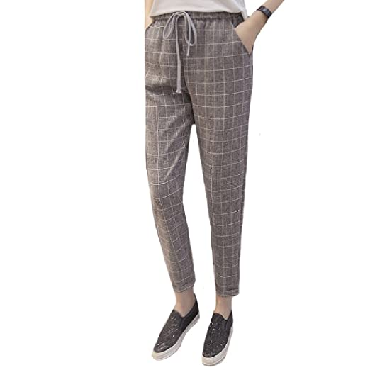 a74b7d7bdce SportsX Women s Plus Size Plaid Loose Summer Casual Skinny All-Match  Elastic Bottom Jean Trousers