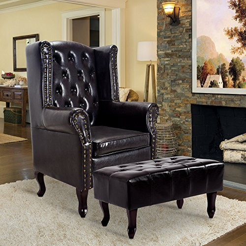 Cloud Mountain Tufted Accent Chair and Ottoman Brown Leather Club Chair Couch Club Chair Ottoman
