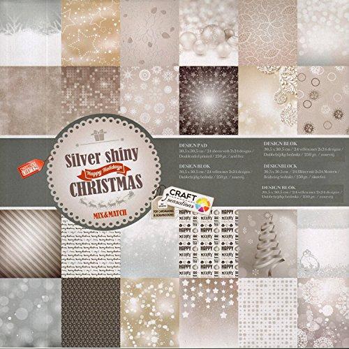 Scrapbooking Papier Vintage Motivblock (26 - Silver shiny Christmas) Bastelpapier 250gr/qm - 48 Motive Grösse je 30,5 cm x 30,5 cm