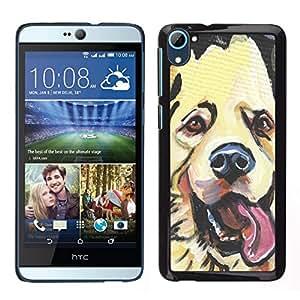 EJOY---Cubierta de la caja de protección para la piel dura ** HTC Desire D826 ** --Golden Retriever Labrador Dog Art Dibujo