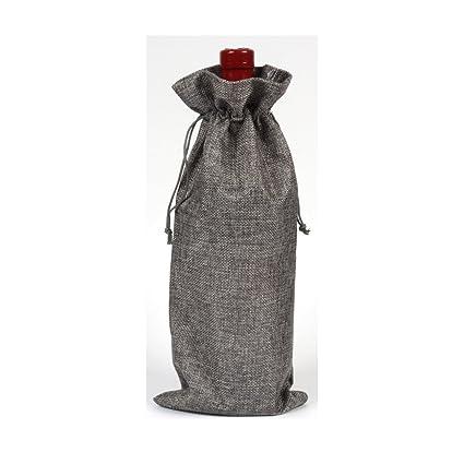 Bolsas de vino de yute natural rústico con cordón, bolsa de regalo para botellas de vino, cubierta de botella para organización Tamaño libre gris