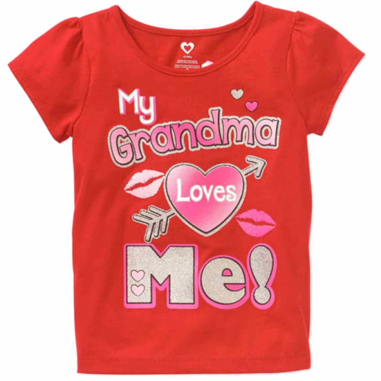 Toddler Girls Red Glitter My Grandma Loves Me Valentines T-Shirt Tee Shirt