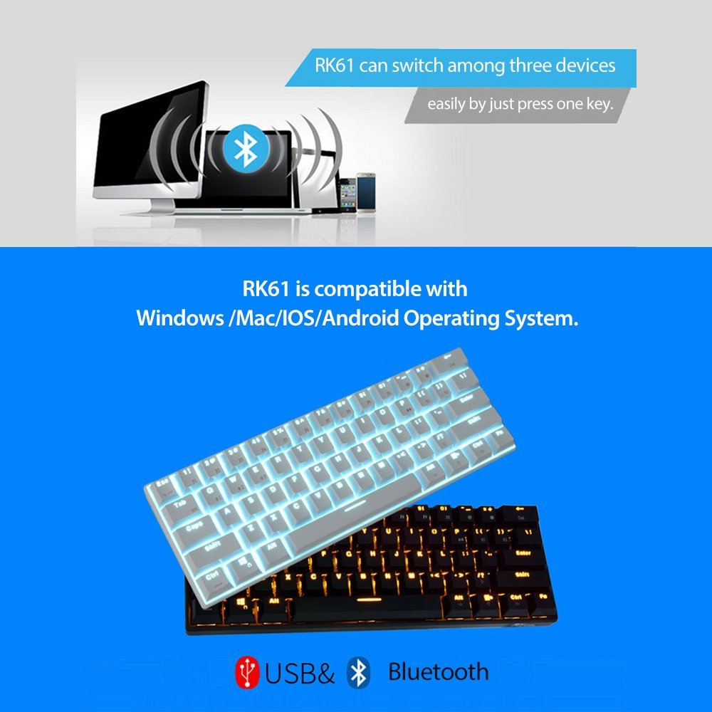 Android Royal Kludge RK61 con conexi/ón de Cable//inal/ámbrico Bluetooth 3.0 LED retroiluminado mec/ánico para Juegos//Teclado de Oficina para iOS Windows y Mac con bater/ía de Litio Recargable