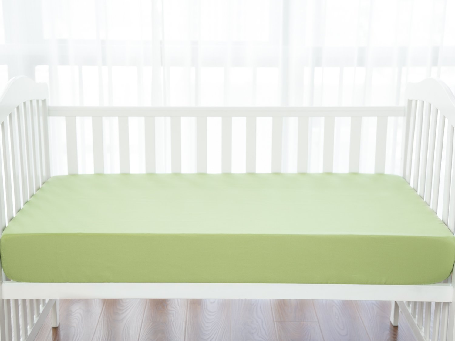 TILLYOU Silky Soft Microfiber Crib Sheet, Breathable Cozy Toddler Sheets for Boys and Girls, 28 x 52in Fits Standard Crib & Toddler Mattress, Pea Green