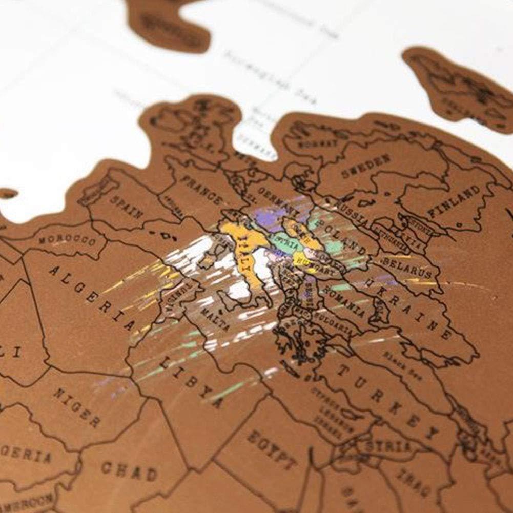 P/óster de mapa del mundo para rascar el mapa del mundo 88 x 52 cm