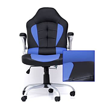 ZOYO Silla de oficina respaldo alto para ordenador de carreras ergonómico Gaming Racer silla azul