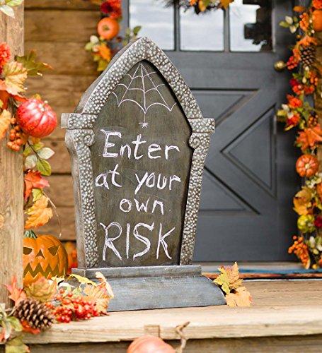 Funny Tombstones For Halloween (Indoor Outdoor Halloween Tombstone Chalkboard Message Board Decor 19.5 W x 7.5 D x 31.5 H)
