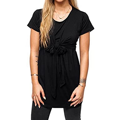 Maternity Breastfeeding Wrap Tie Nursing top Pregnancy Nursing Long T-Shirt Short Sleeve