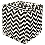 Majestic Home Goods Black Chevron Indoor/Outdoor Bean Bag Ottoman Pouf Cube 17'' L x 17'' W x 17'' H