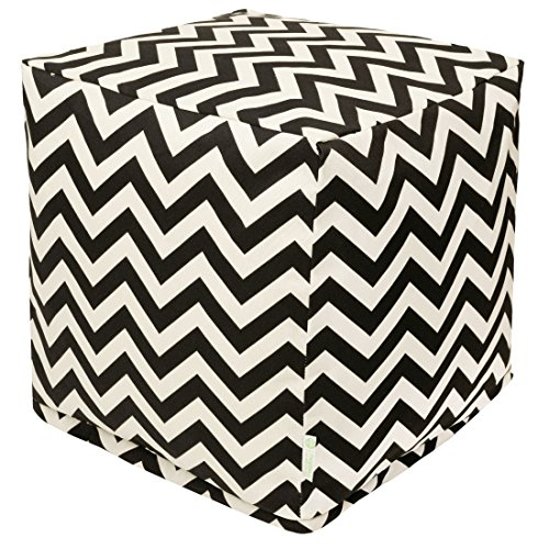Majestic Home Goods Black Chevron Indoor/Outdoor Bean Bag Ottoman Pouf Cube 17'' L x 17'' W x 17'' H by Majestic Home Goods