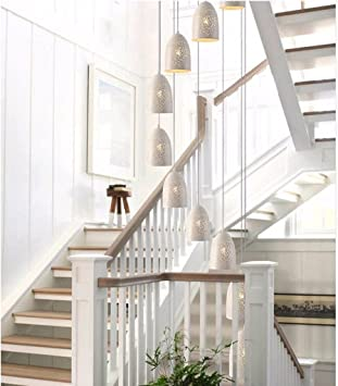 BAJIAN-LIModern, minimalistas largo candelabro Nordic LOFT industrial creativo retro Bar Restaurante forjado candelabro doble escalera,blanco: Amazon.es: Bricolaje y herramientas