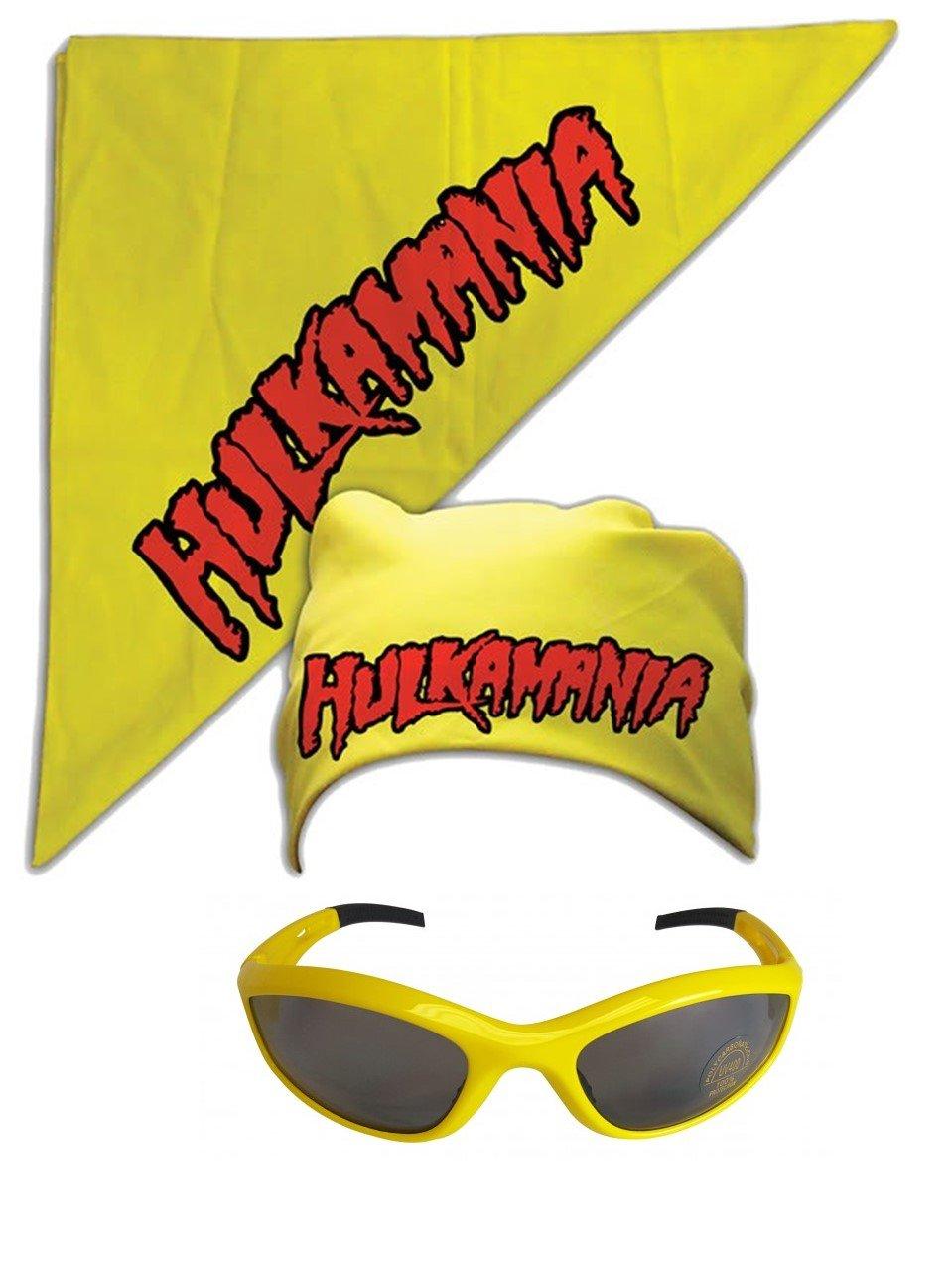 Hulk Hogan Hulkamania Bandana Sunglasses Costume -Yellow-Yellow