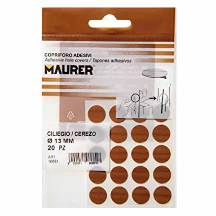 Maurer 5440112 Pack de 20 tapatornillos adhesivos, color cerezo
