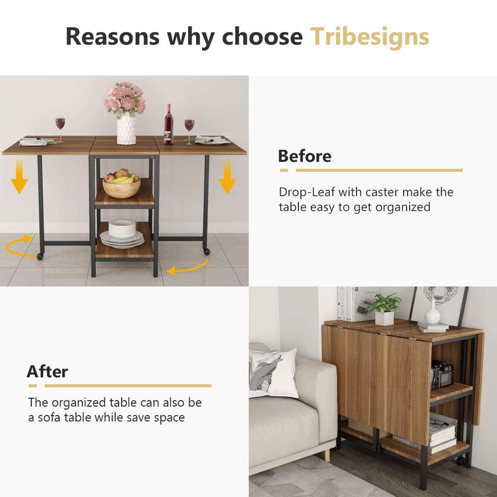 Folding Dining Table, Tribesigns Expandable Dining Table with Double Drop Leaf, Extra 2-Tier Storage Shelf, 2 Lockable Casters for Home Kitchen Use, Chairs Not Included. by Tribesigns (Image #4)
