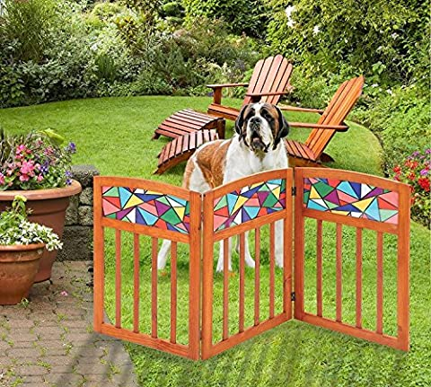 Indoor / Outdoor Stained Glass Folding Solid Wood 3 Section Pet Gate (Wide Room Divider)