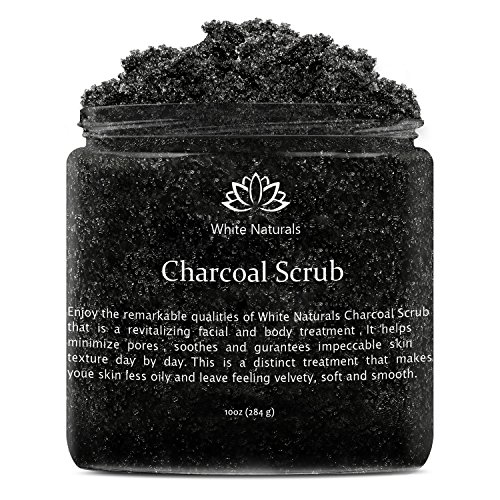 Activated Charcoal Scrub 10 oz By White Naturals: Facial & Body scrub, Reduces Wrinkles, Blackheads & Acne Scars ,Natural Skin Care , Face Cleanser ,Pure Vegan Scrub For Skin Exfoliation And Detox.