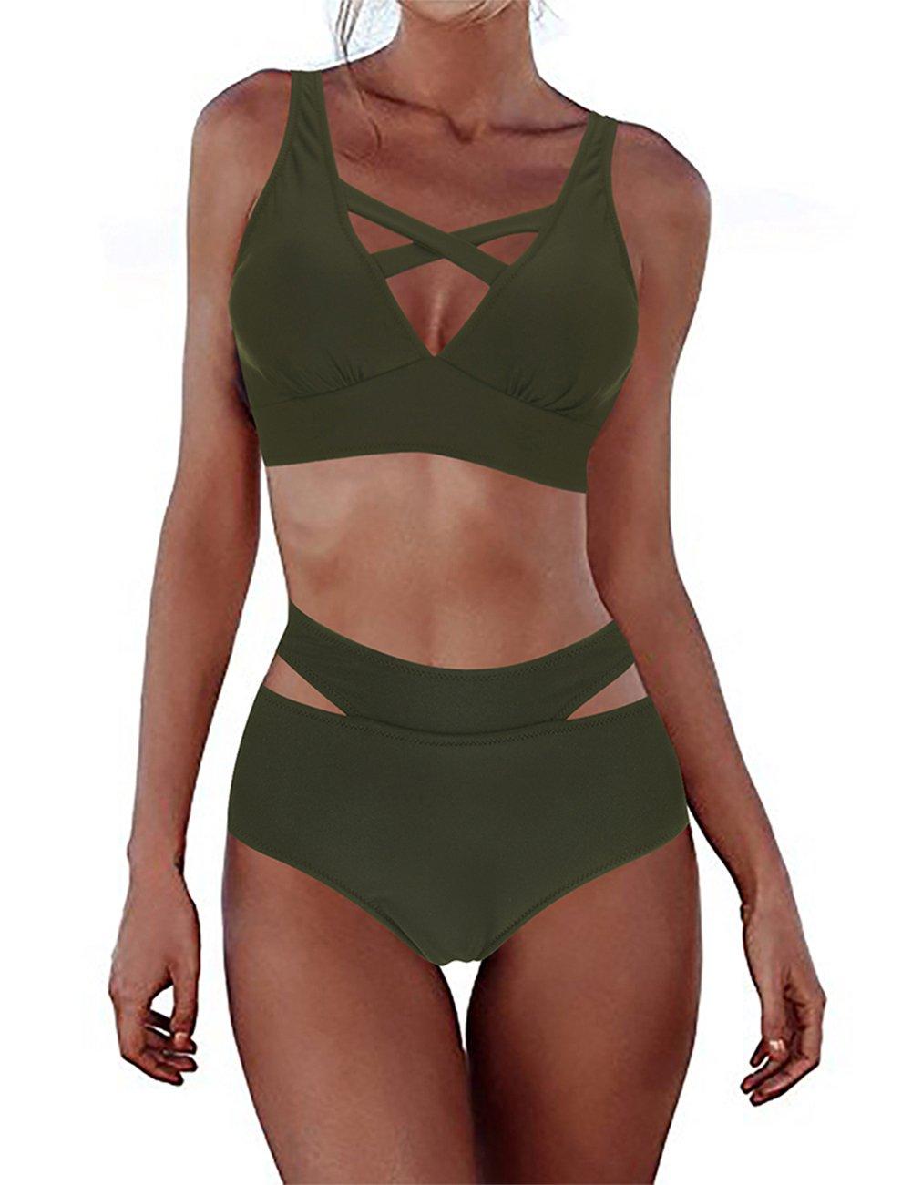 Vilover Sexy Two Piece Bikini Set Zip Front Swimsuit Sports Style Thong Bottom Swimwear (Army Green, M(US 6-8))