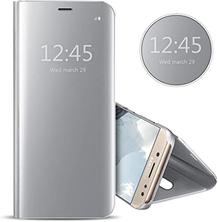 Anfire Funda para Samsung J5 2017, Funda Galaxy J5 2017, Estuche de Piel Espejo Transparente Carcasa Flip Cuero Funda Función de Soporte Sueño Automático Lujoso Case Enchapado Cover: Amazon.es: Electrónica