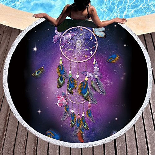 Sleepwish Butterfly Dream Catcher Round Beach Blanket Towel Purple Tablecloth Round Circle Yoga Blanket Terry Quality with Tassels (Dreamy Galaxy, (Butterfly Dreamcatcher)